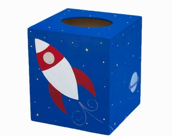 Wooden Tissue Box - Custom Hand Painted Children's Wood Kleenex Cover - Rocket Ship in Outer Space or Any Kid's Theme