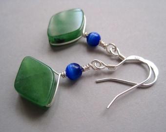 Modern Jade Earrings, Sterling Silver, Dyed Jade, Mixed Media Earrings, Blue Cats Eye, Stone Earrings