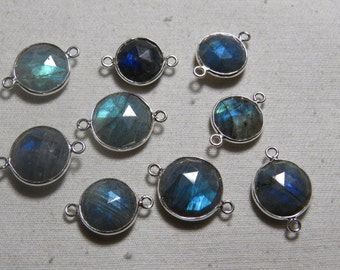 92.5 Sterling Silver - Vermeil -  LABRADORITE - Faceted Coin Shape Full Flashy Fire  - Pendant Connector - size 12 - 15 mm approx -  9 pcs