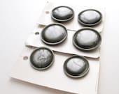 2 Vintage Gray Plastic Coat Buttons