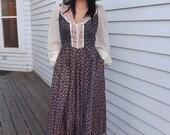 Gunne Sax Dress Maxi Vintage 70s Corset Floral Prairie Long 13