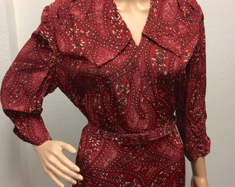 Vintage 40s Red Print Dress L XL 40 Bust Forever Young