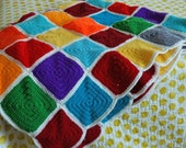 Hip to Be Square Vintage Crocheted Blanket