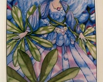 Children's Book Plate, Vintage Art Illustration, Fairy, Garden fairy,  Blue fairy, Lyn and Bill Teeple