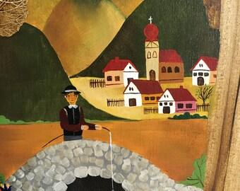 Vintage Folk Art Fisherman Painting