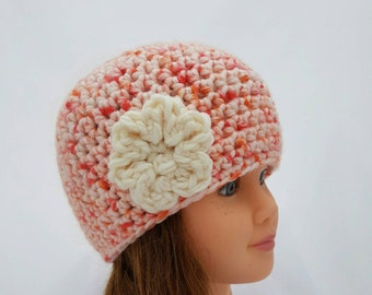girls crochet hat, beanie with flower, crochet winter hats, girls flower beanie, orange beanie, ivory flower, flower beanie, size 6 years
