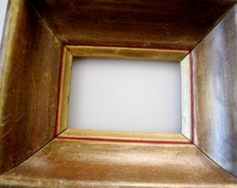 Vintage Wood Frame in metallic gold with red trim  6 x 7 inch