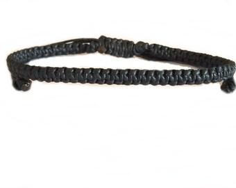 Handcrafted Classic Black Wax Cotton Thai Buddhist Wristband BRACELET