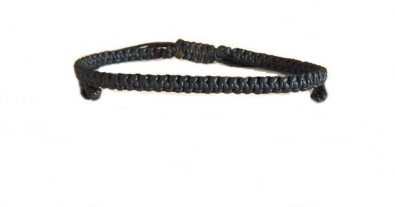 Handcrafted Classic Black Wax Cotton Thai Buddhist Wristband BRACELET