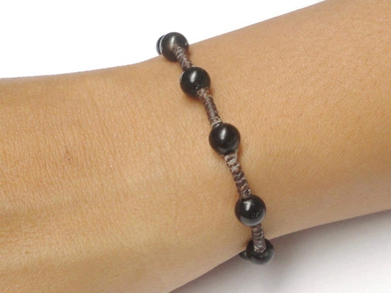 Beautiful Black Onyx Gemstone BEAD Fair Trade Jewelry Wristband Bracelet
