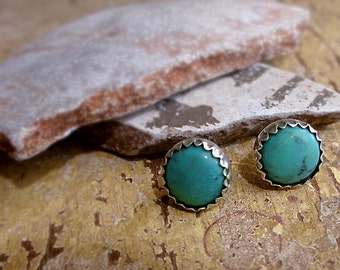 Vintage Indian Native American Turquoise & Silver Button Style Stud Post Earrings