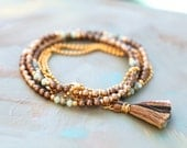 Beaded Strand Necklace / Wrap Around Bracelet in Neutral Tones