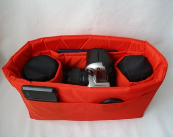 Orange Camera Bag Insert - IN STOCK - 5X12X7