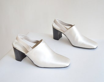 Vintage STEPHANE de RAUCOURT metallic mules / 6.5