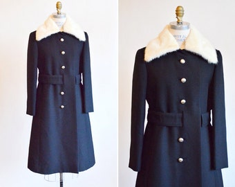 Vintage 1970s black wool and MINK coat