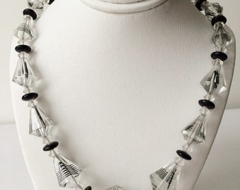 Vintage Spiral Clear Faceted Glass Beaded Necklace Antique Black Waves