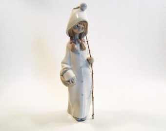 Vintage Lladro Shepherdess with Basket #4678 Made in Spain Glazed Retired