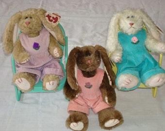 3 Ty Attic Treasures Plush Bunny Rabbit Rose Iris & Ivy (CZ)