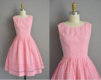 50s pink cotton gingham vintage dress / vintage 1950s dress
