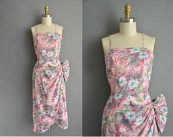 50s pink floral cotton vintage cocktail dress / vintage 1950s dress