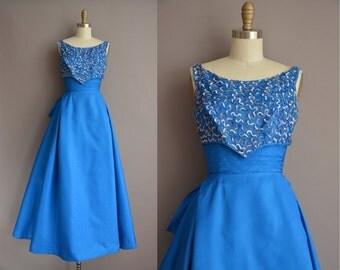 50s Royal blue sequin vintage party prom dress / vintage 1950s dress