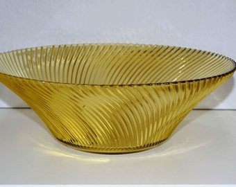 Depression Glass Diana Ribbed Swirl Pattern 11 Inch Amber Console Fruit/ Salad Bowl by Federal Glass Company 1937-41