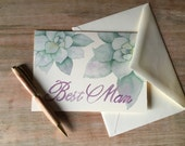 Best Man Note Card - Succulent Watercolor - nature leaves watercolor