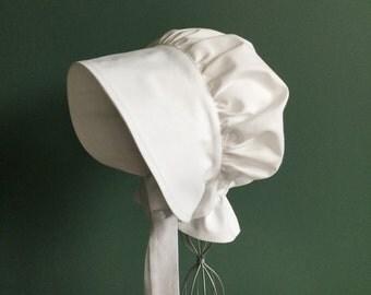 White Bonnet, White Pioneer Bonnet, Baby Bonnet, Gardening Play Bonnet, Sun Hat, Easter Bonnet, Christening Bonnet, Adult Bonnet, Toddler