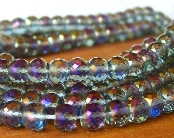 """7"""" / 15"""" 8mm MICRO Faceted - Vitrail Purple - half coat AB Extra Sparkle crystal glass rondelle Beads - PICK Length"""