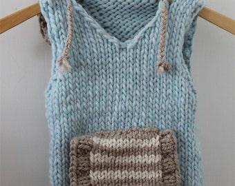 KNITTING PATTERN- The Hoodie Vest PDF knitting pattern (child sizes 2-12 years)
