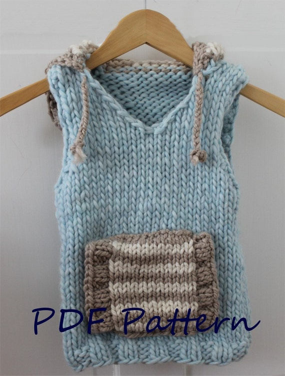Vest Knitting Pattern For Children : KNITTING PATTERN The Hoodie Vest PDF knitting pattern child