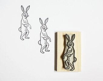 Vintage Rabbit - Hand Carved Rubber Stamp