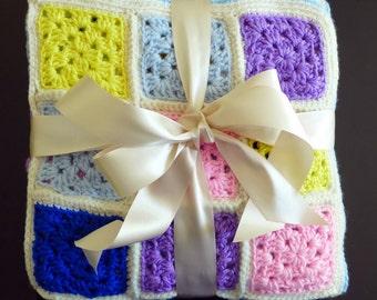 Confetti-Colored Granny Square Baby Blanket