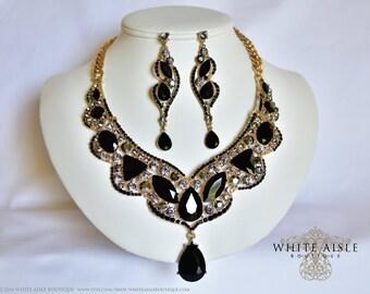 Black Wedding Jewelry Set, Crystal Statement Necklace, Wedding Jewelry Set, Vintage Inspired Necklace, Drop Necklace, Evening