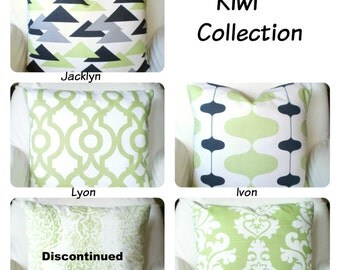 Green Pillow Covers, Decorative Throw Pillows, Cushions, Kiwi Green White Berlin Manchester Lyon Couch, One or More Mix & Match ALL SIZES