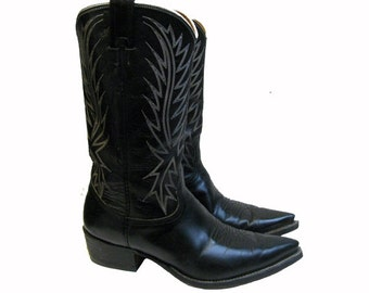 Nicona Cowboy Boots Vintage Preowned Mens Black Leather Pointed Toe Western Bts Made In The USA Mns US Size 9 1/2 D