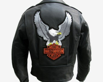Harley-Davidson Motorcycle Jacket Vintage Womens Black Leather Cycle Jacket with Harley Patches Wms Size Small