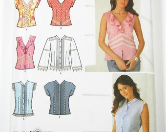 Simplicity Top Pattern 4229 - Misses' Blouses in Six Variations - SZ 6/8/10/12/14