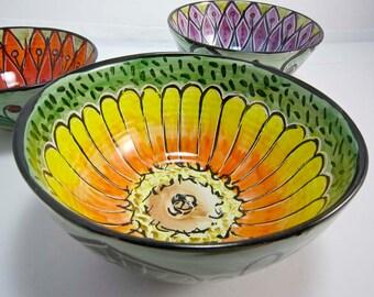 Medium Serving Ceramic Pottery Bowl - Zinnia Flower - Majolica Bowl - Orange Yellow on Green - Kitchen decor - Garden flowers - Mandala Type