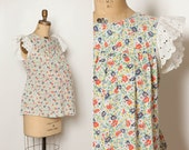 vintage 1970s maternity top floral print