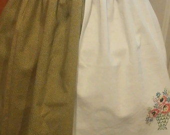Half Apron with Vintage Linens Upcycled Embroiderd - Dish Towel