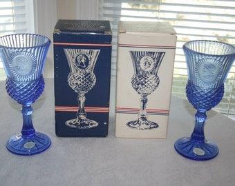 Vintage Avon Fostoria Candle Holder Marth Washington and George Washington Goblet Pair