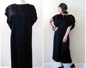 BIG ASS SALE vintage 80s  30s Pierre Cardin dress black satin large flutter sleeves shift tea length Gatsby cocktail party minimalist