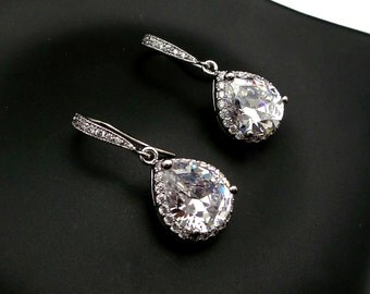 wedding bridal earrings jewelry christmas prom party bridesmaid gift Clear white teardrop halo cubic zirconia on cz hook rhodium silver hook