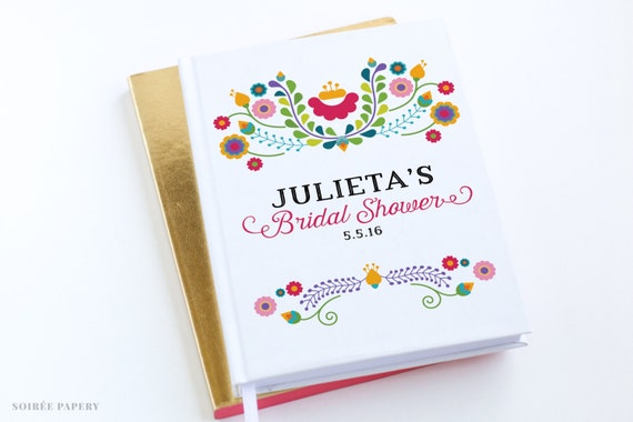 Wedding Shower Gifts For Her: Bridal Shower Fiesta Guest Book Personalized Gift By