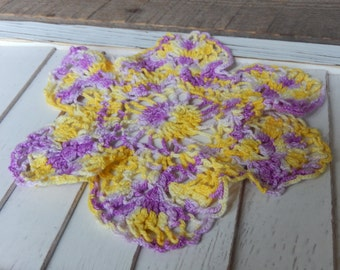 Doily Romantic Cottage Chic Decor Vintage Handmade Lilac Yellow Kitchen Home Decoration