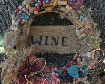 Wine Cork Wreath, Grape Wreath, Wine Themed Wreath, Burlap Rustic wreath, Vino Themed Grapevine Wreath, Handcrafted Wreath, Grapes, Corks