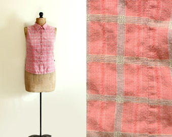 vintage tank top 1990's womens clothing plaid coral pink distressed button down summer size small s