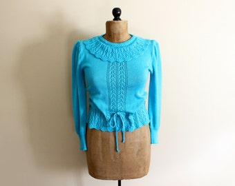 vintage sweater 80s womens clothing turquoise 1980s ruffle collar feminine pointelle size s m small medium