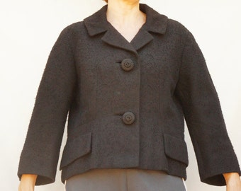 Vintage 50s Women's Fitted Short Black Jacket Retro Mid Century High Fashion